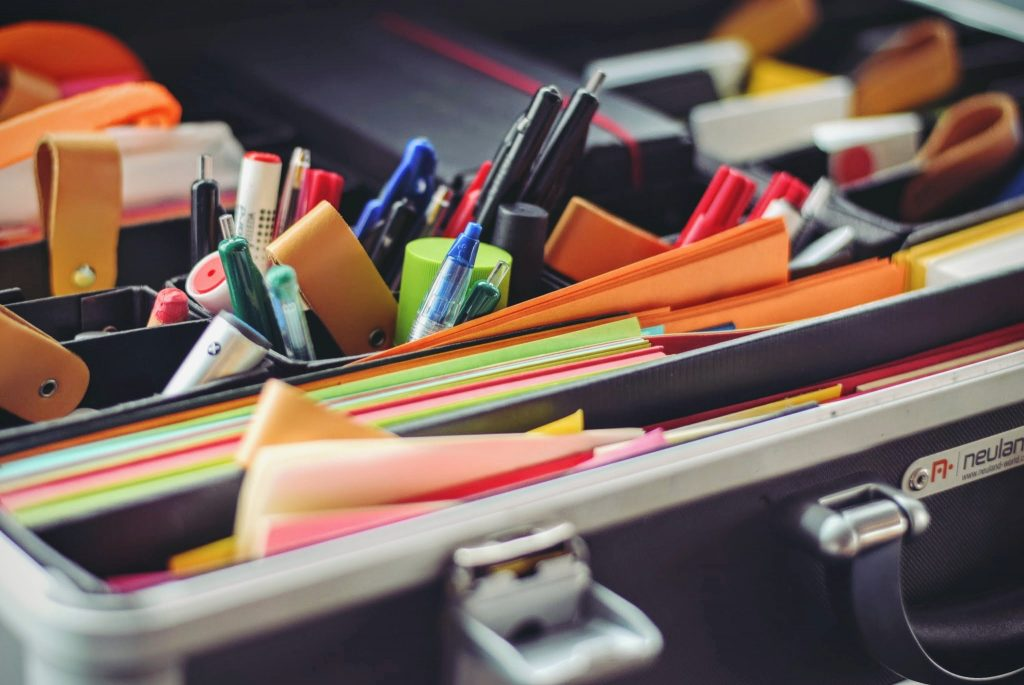 office supplies, shipping supplies, business cards, notary