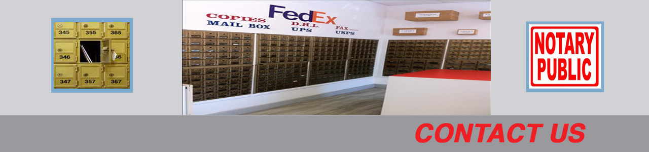 Picture of mailboxes with Fedex sign above them